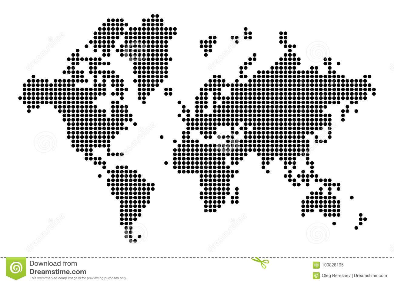 World Map Silhouette World Map In Dots Stock Vector Illustration