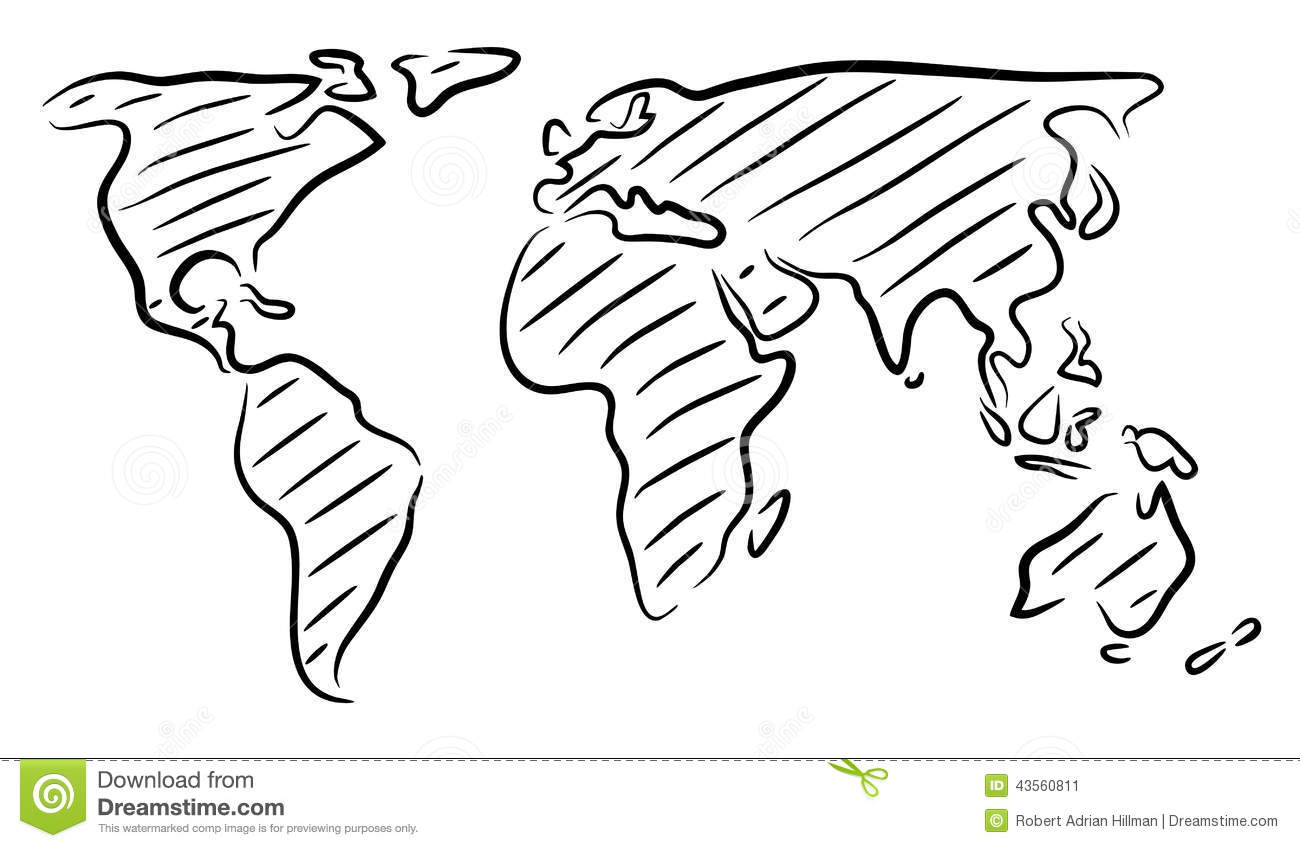 World map sketch stock vector illustration of continents 43560811 world map sketch gumiabroncs Images