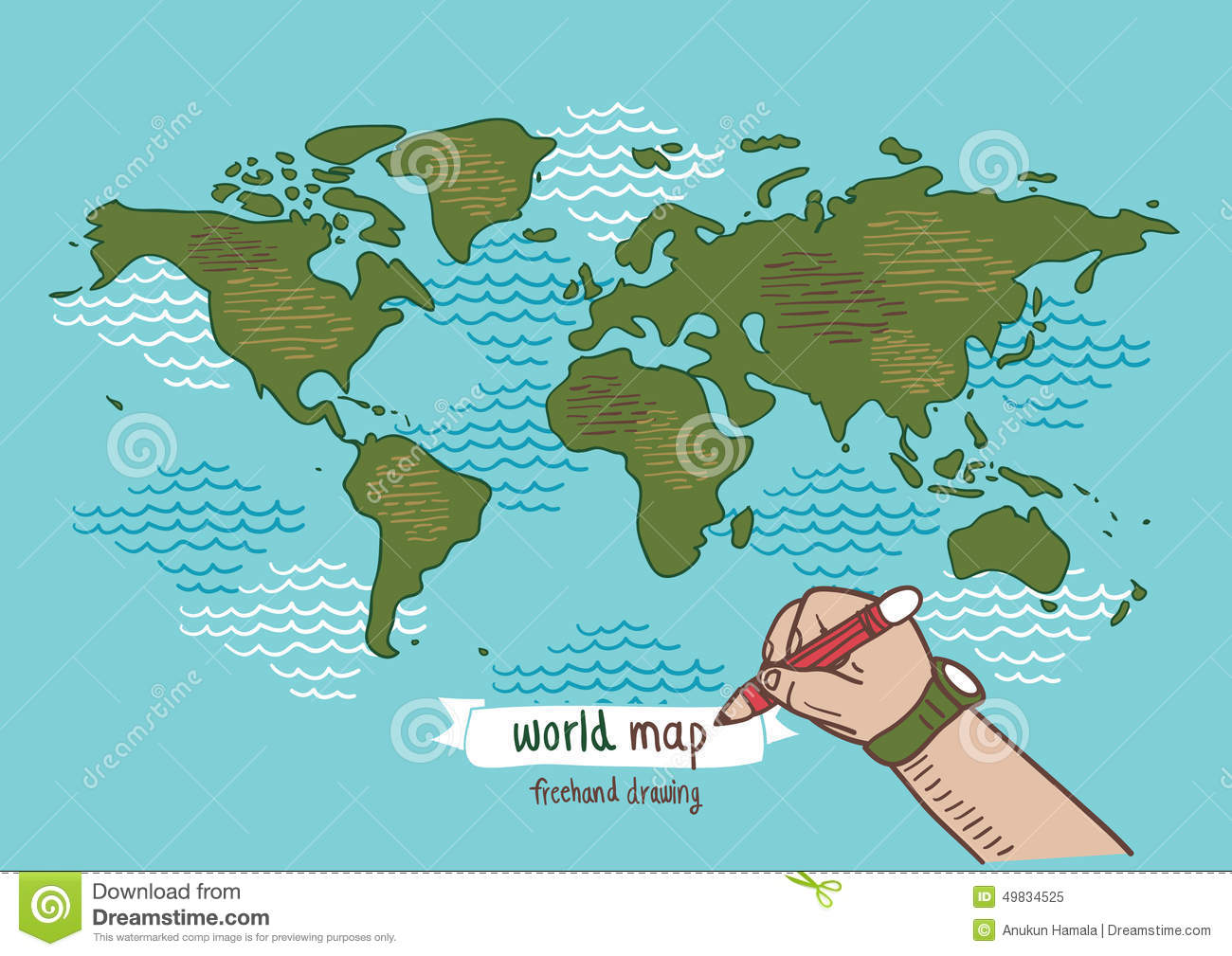 World map sketch vector stock vector illustration of doodle 49834525 world map sketch vector royalty free vector download gumiabroncs Images