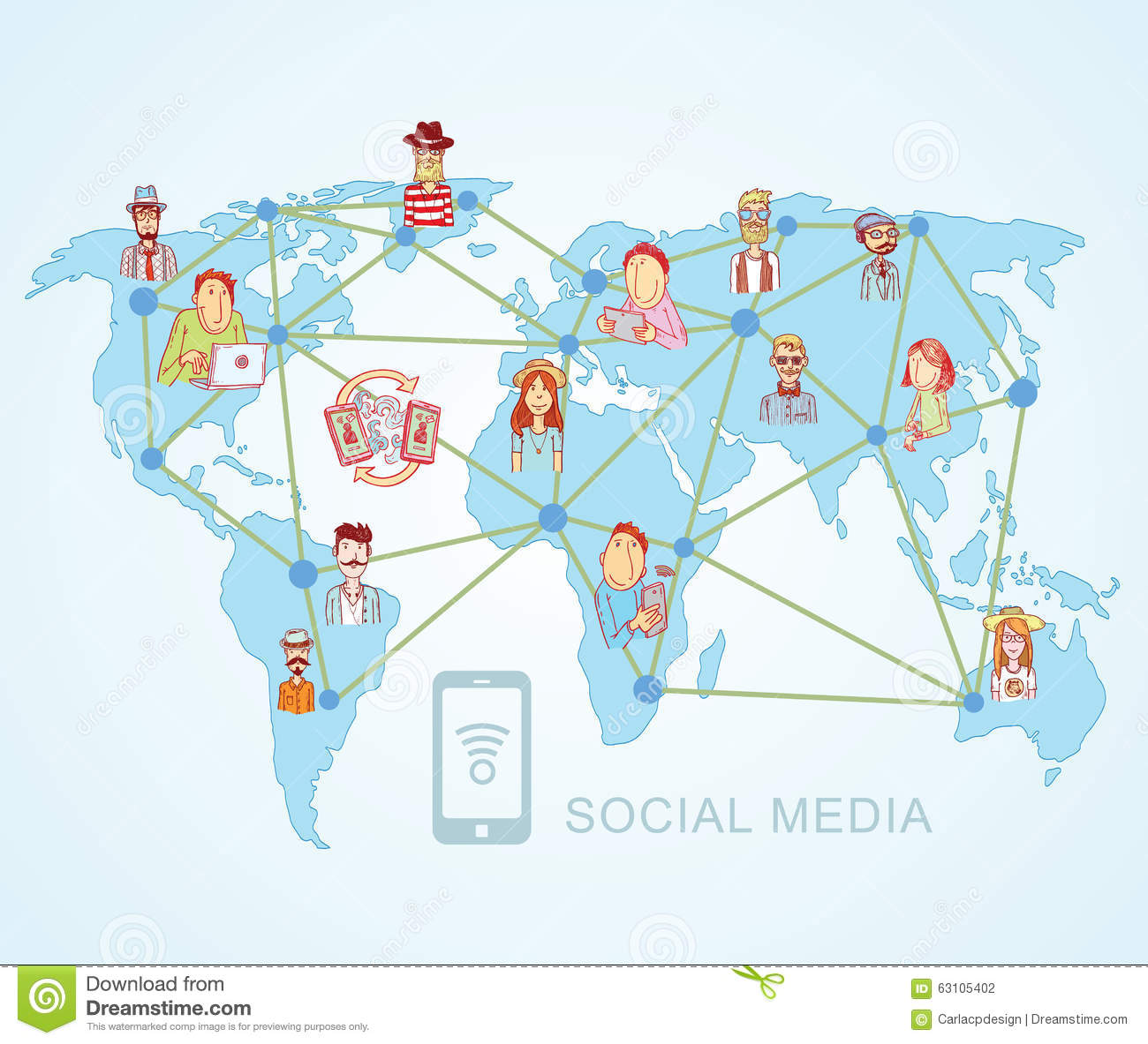 World mapsocial media communication internet network doodle vector world mapsocial media communication internet network doodle vector illustration gumiabroncs Image collections