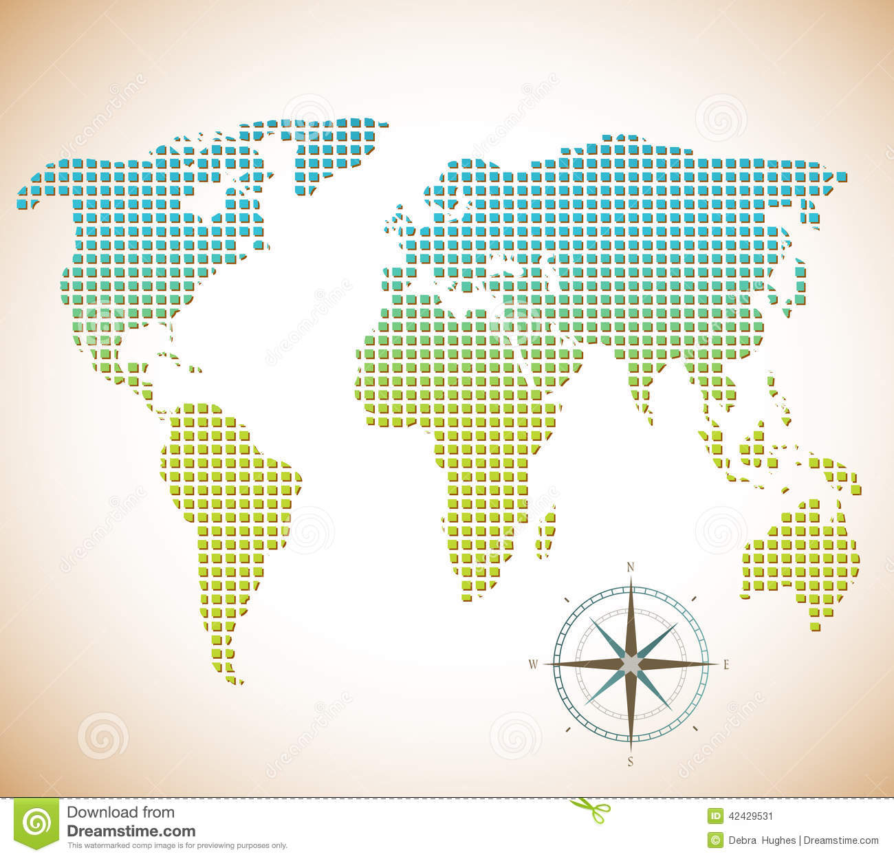 World map of squares with compass stock vector illustration world map of squares with compass royalty free vector gumiabroncs Images