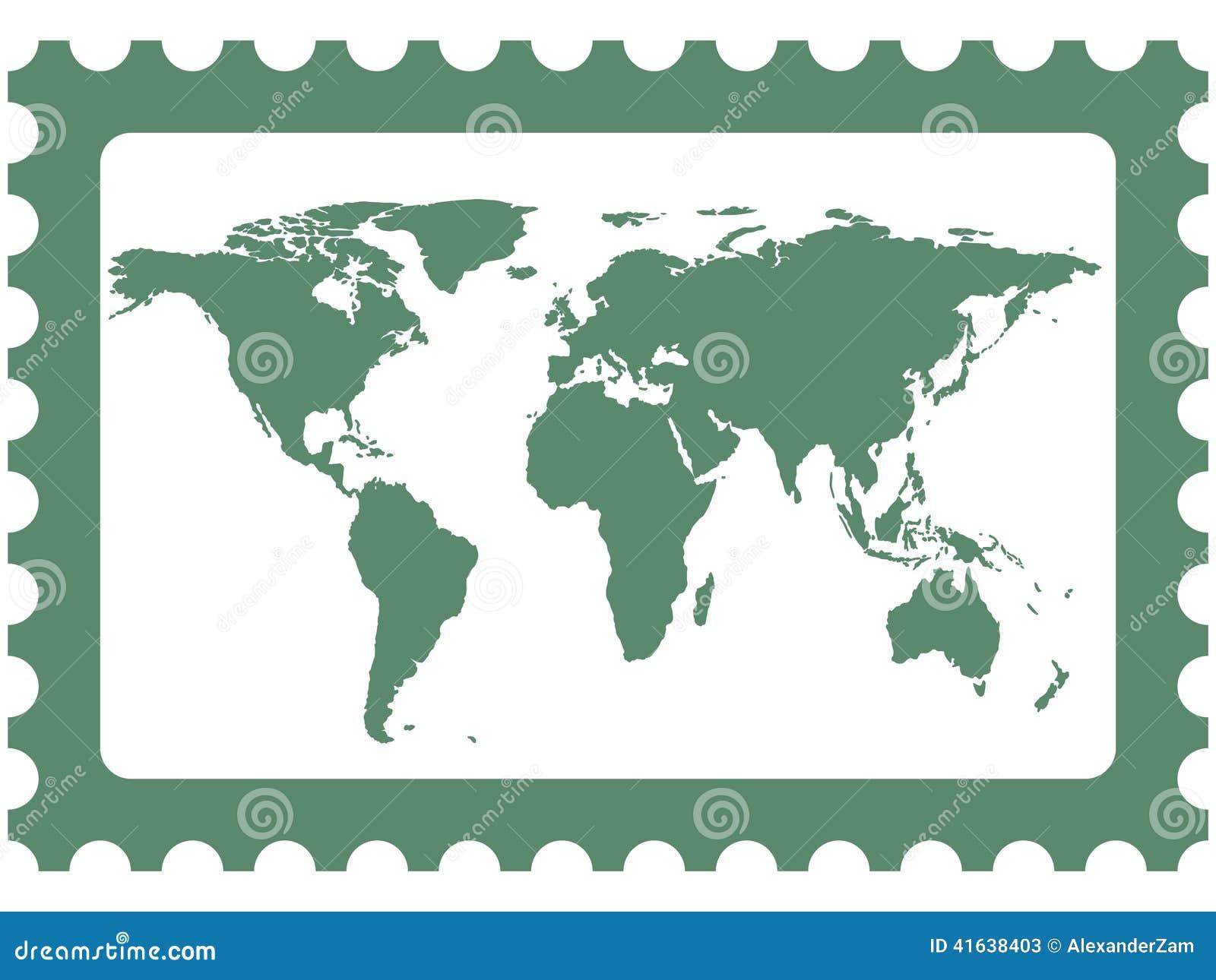 World map on stamp stock vector. Illustration of world   41638403