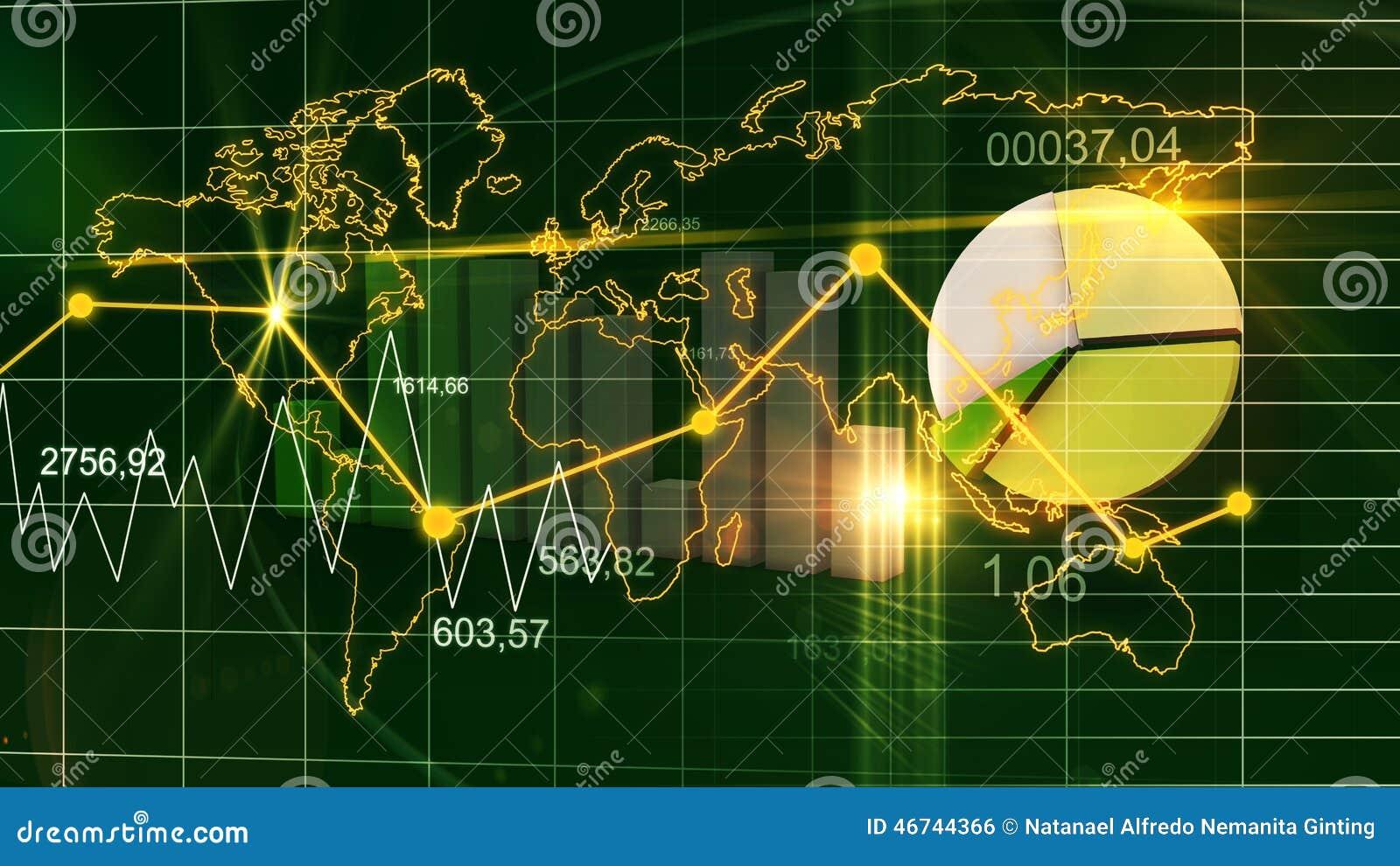 World Map Statistic Data Graph Dark Green Finance Background
