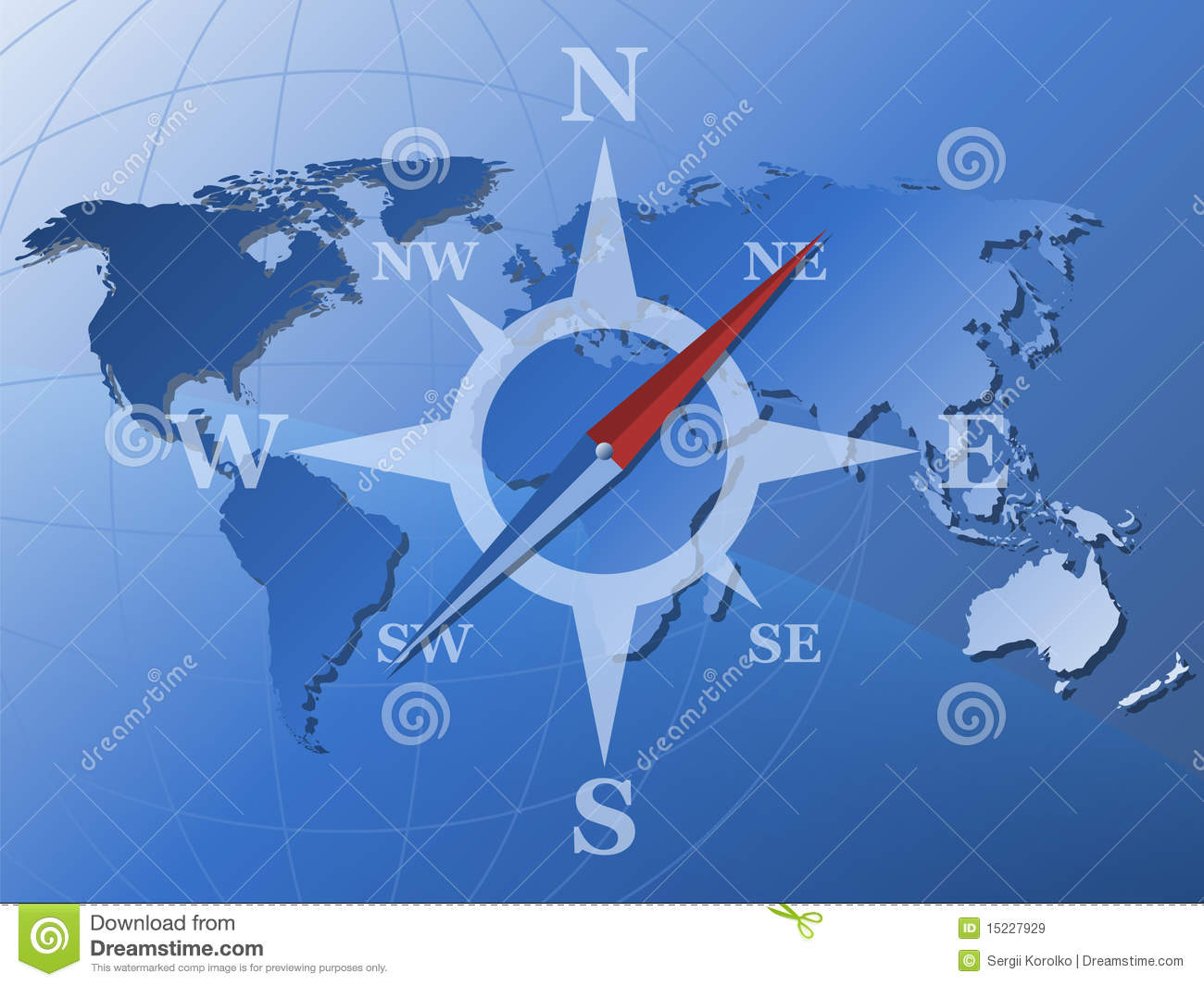 World map and stylized compass icon stock vector illustration world map and stylized compass royalty free stock images sciox Image collections
