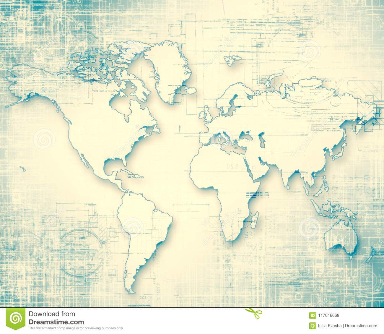 World map on a technological background glowing lines symbols of download world map on a technological background glowing lines symbols of the internet radio gumiabroncs Images