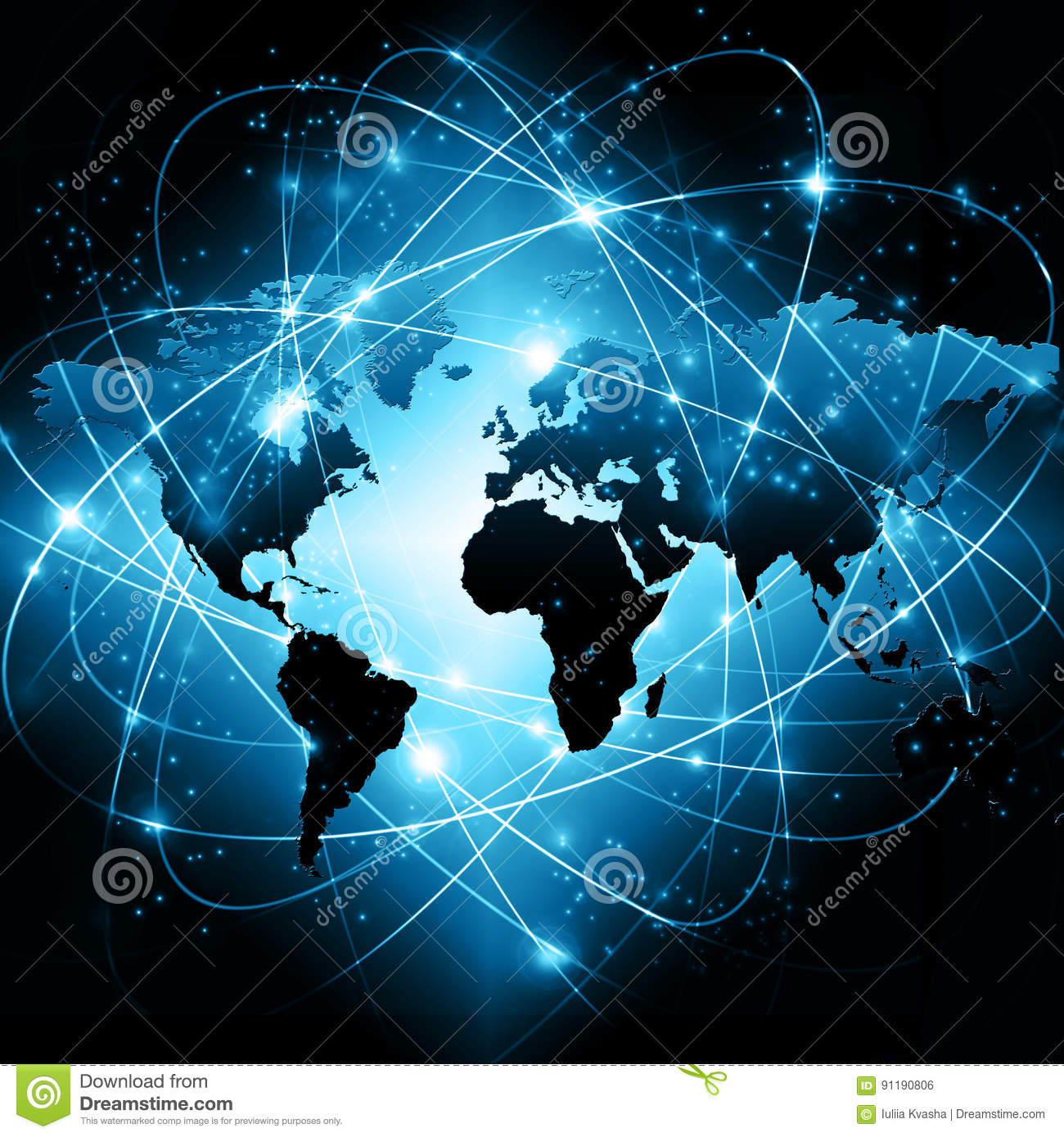 World map on a technological background glowing lines symbols of download comp gumiabroncs Gallery