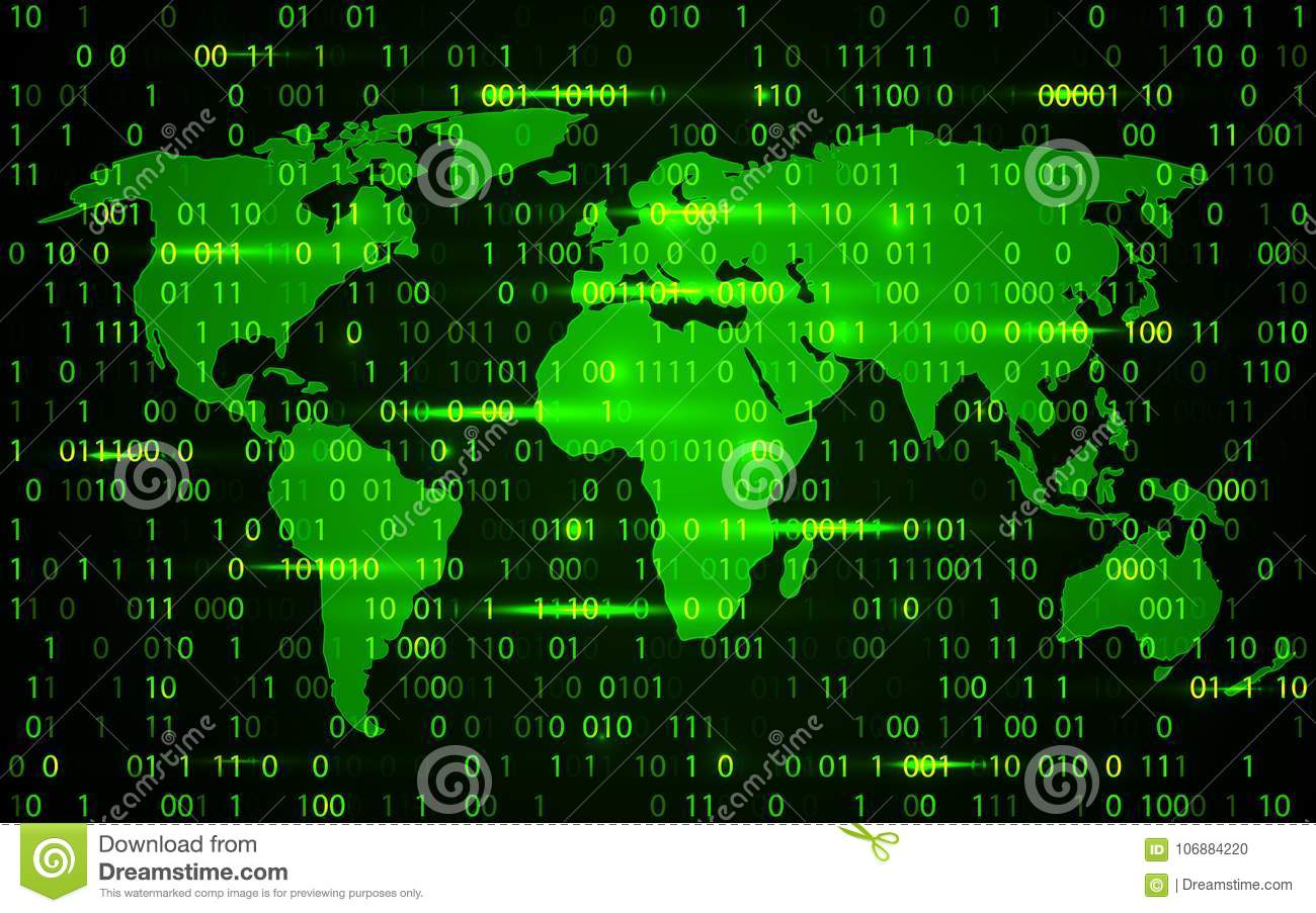 World Map Technology With Decryption And Encryption Binary