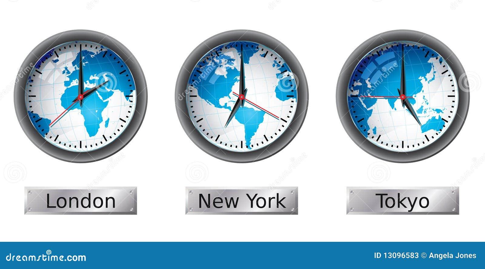 World Map Time Zone Clocks Stock Photos Image 13096583