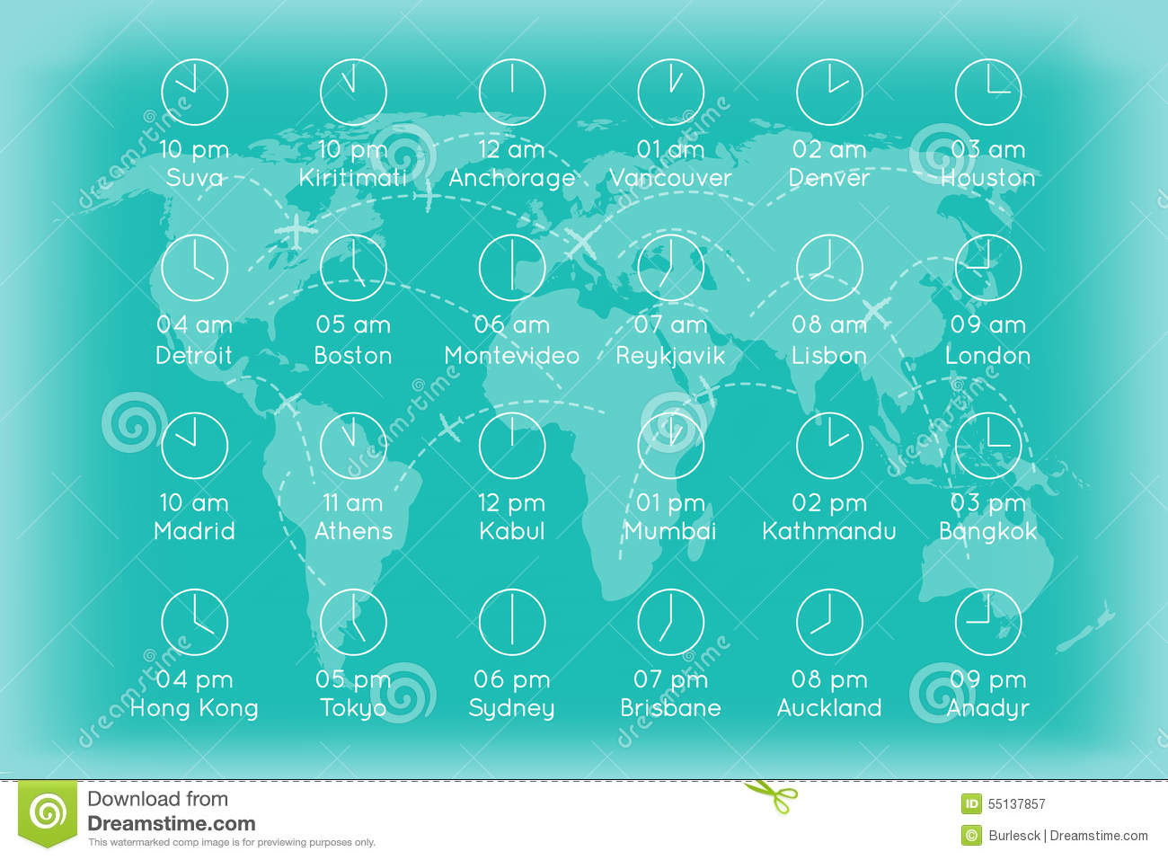 World Map With Time Zones Infographics Background Stock Vector ... on