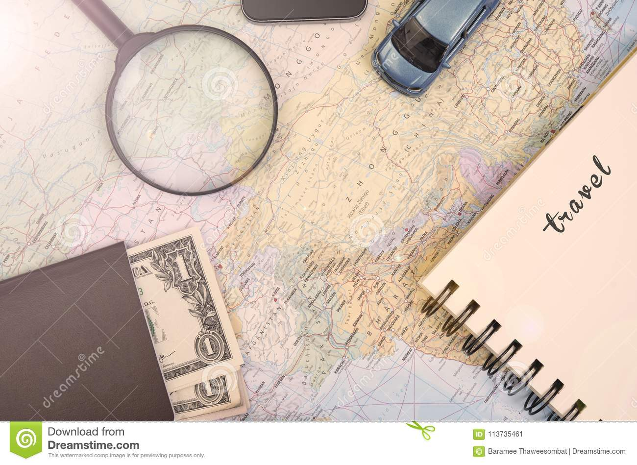 world map for to do list planning vacation with other travel stock