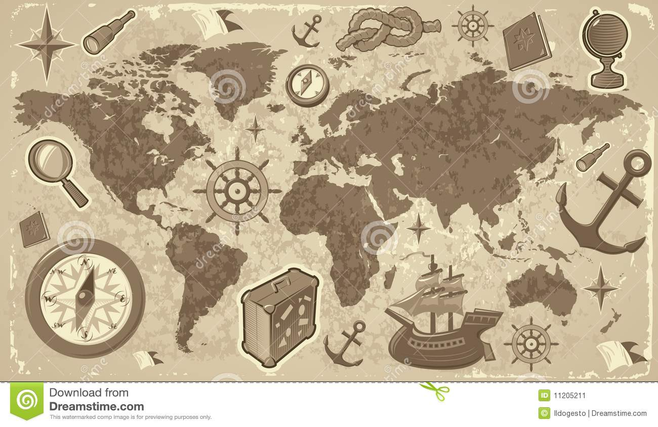 world map with travel icons stock image image 11205211. Black Bedroom Furniture Sets. Home Design Ideas