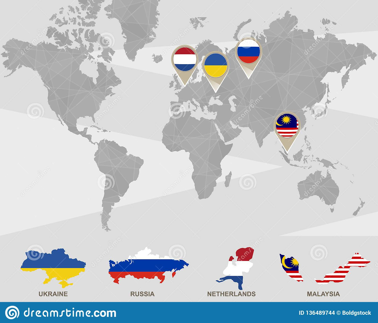 Picture of: World Map With Ukraine Russia Netherlands Malaysia Pointers Stock Vector Illustration Of Cartography Geometrical 136489744