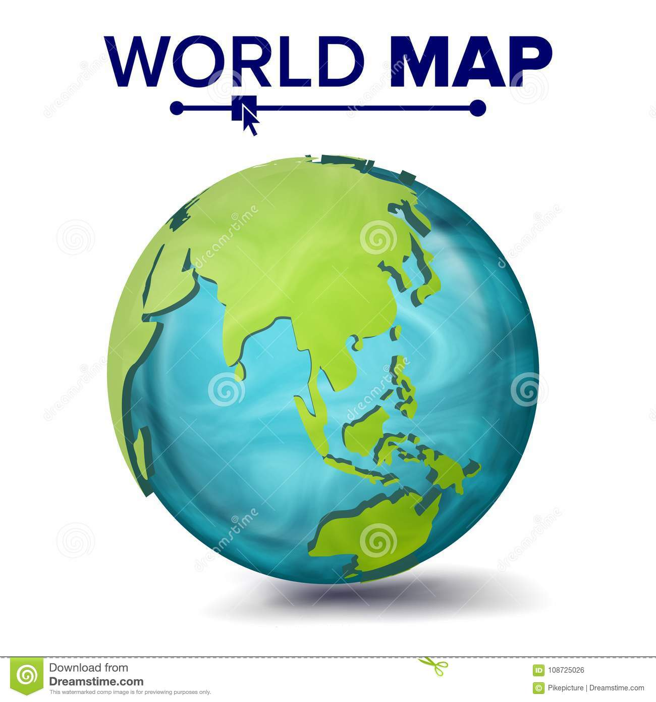 The Continent Of Asia Map.World Map Vector 3d Planet Sphere Earth With Continents Asia
