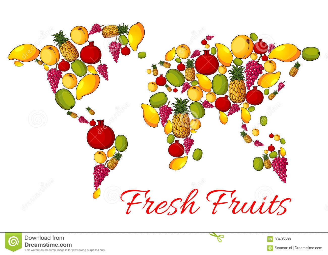 world map of vector fresh fruits stock vector