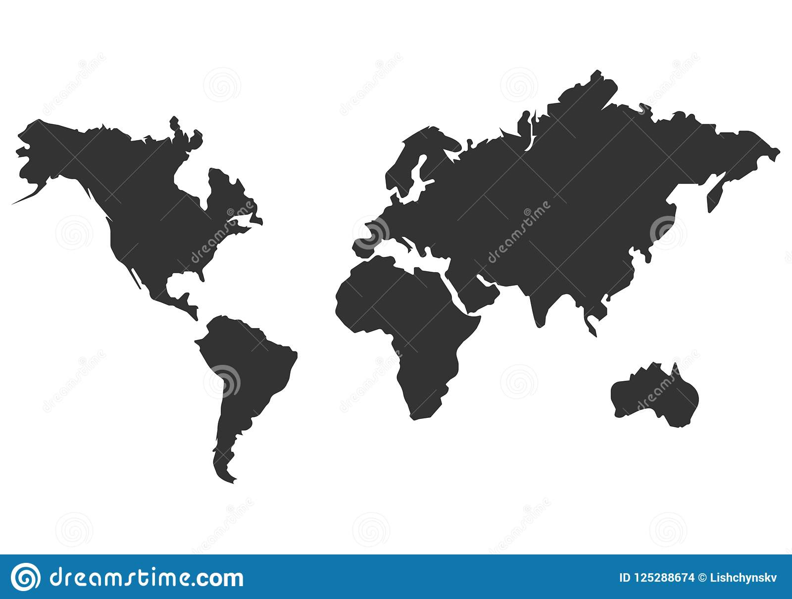 Flat World Map Vector.World Map Vector Icon Simple Flat Design Stock Illustration