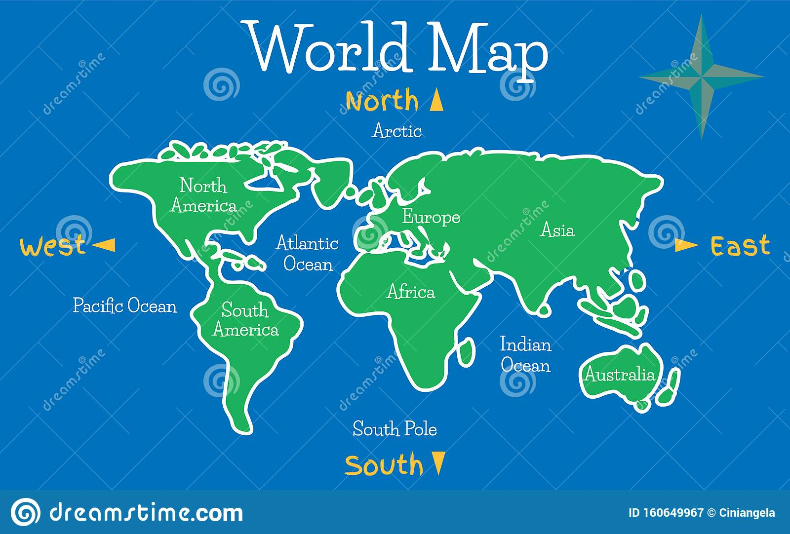 Image of: World Map Vector Illustration For Children With Continents And Oceans Stock Vector Illustration Of Color Icon 160649967