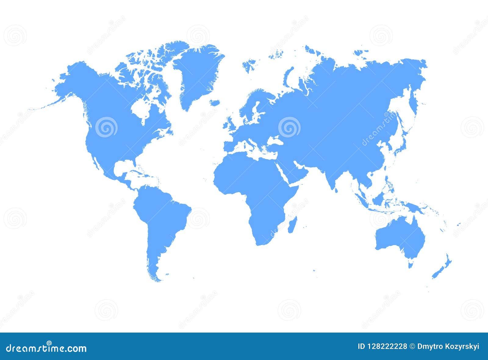 World Map Vector Isolated On White Background Globe Worldmap Icon