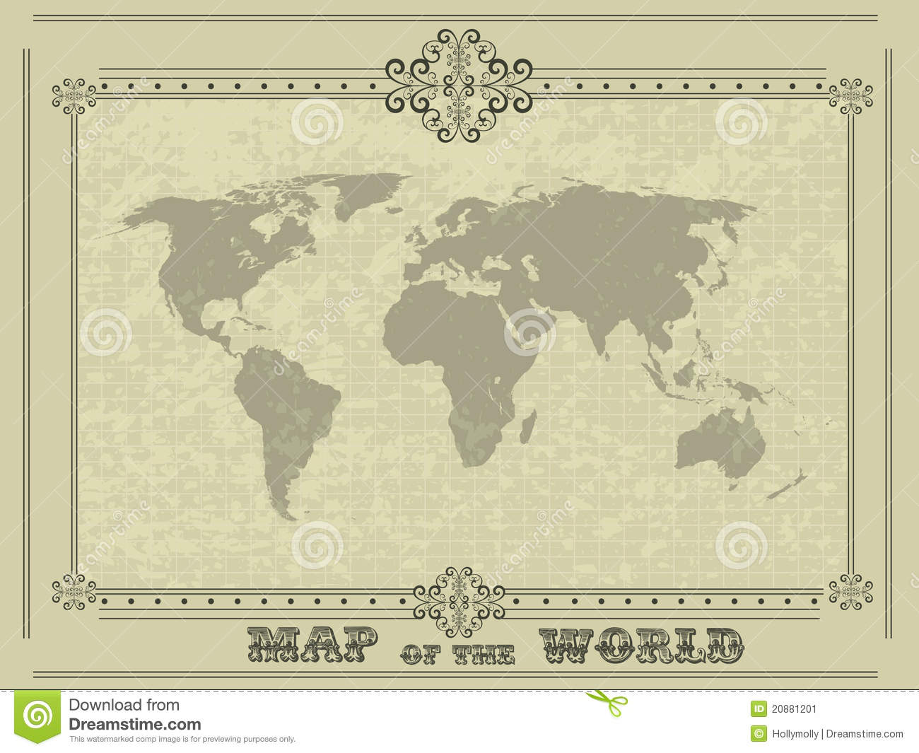 stock image world map with vintage frame image 20881201. Black Bedroom Furniture Sets. Home Design Ideas
