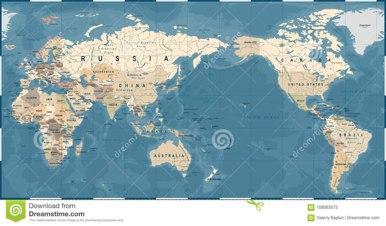 World Map Vintage Old Retro Asia In Center Stock Illustration - World-map-with-us-in-center