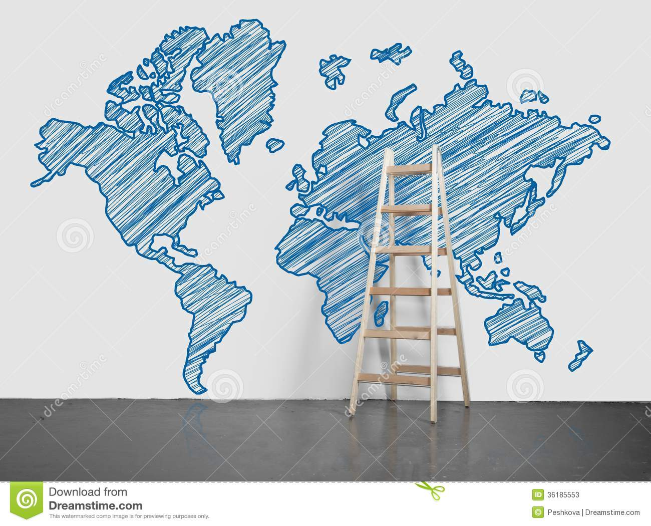World map on wall stock image image of brainstorming 36185553 world map on wall gumiabroncs Images