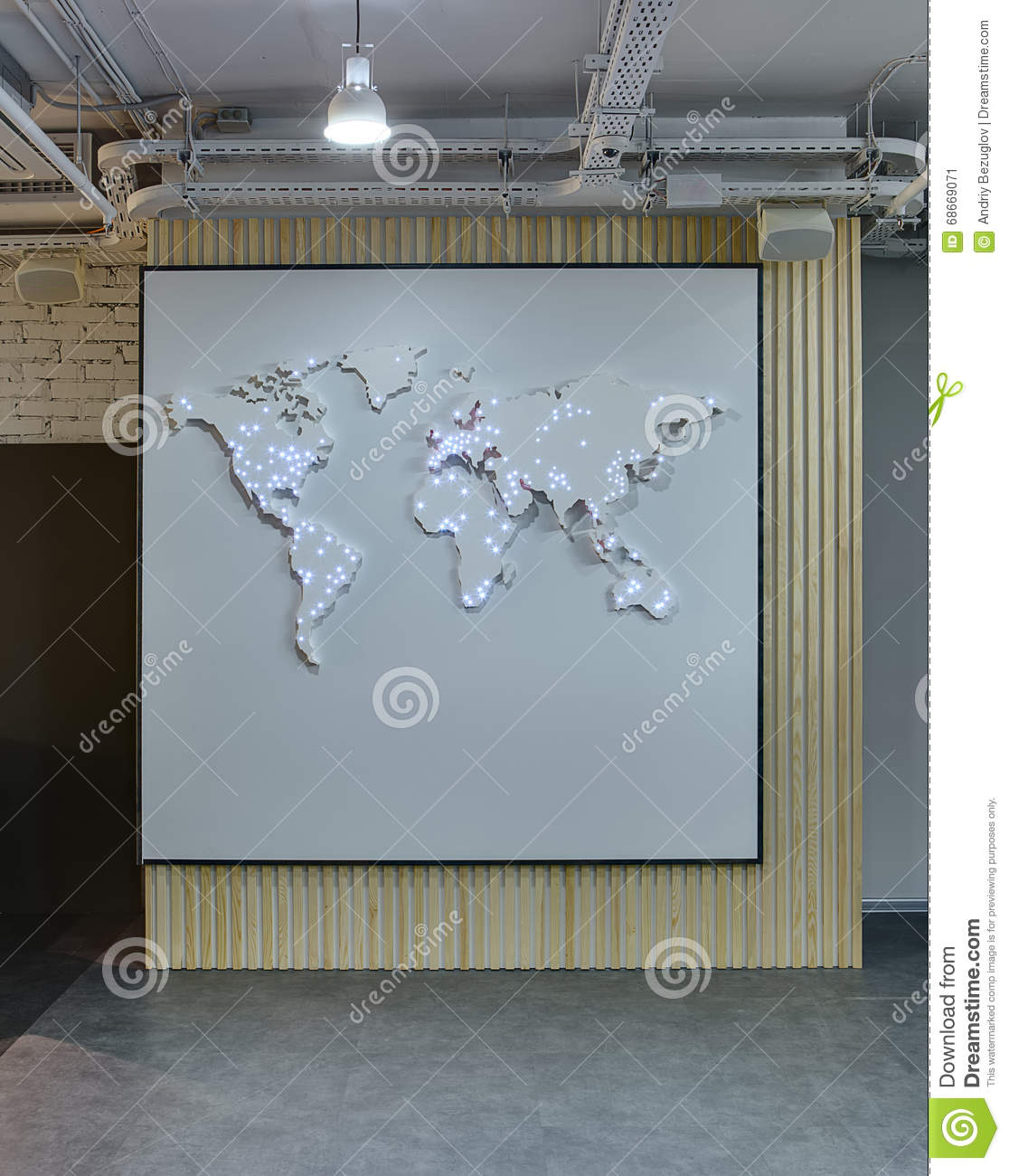 World map on the wall stock image image of loft business 68669071 world map on the wall gumiabroncs Gallery
