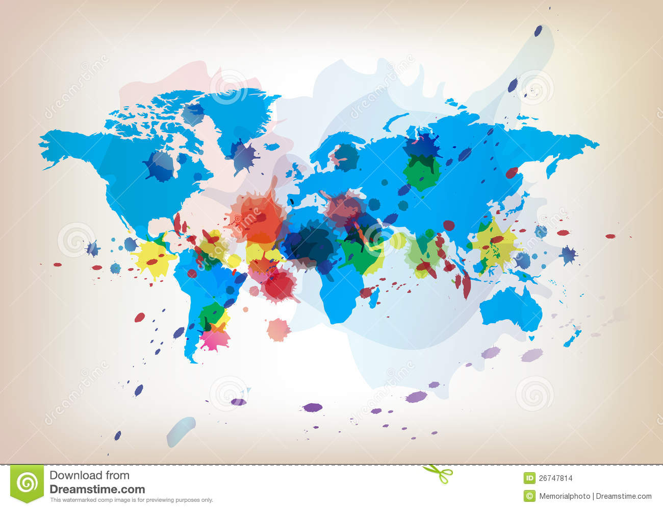 World map and watercolor stock vector illustration of splash 26747814 world map and watercolor download preview gumiabroncs Images