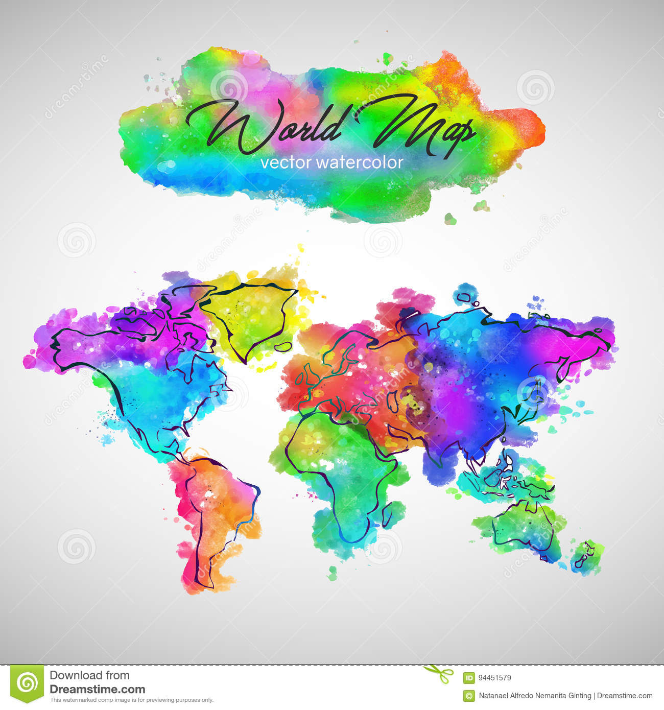 World map watercolor paint vector stock vector illustration of download world map watercolor paint vector stock vector illustration of artistic watercolour 94451579 gumiabroncs Images