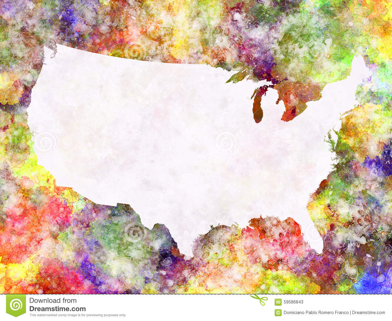 World Map In Watercolor Stock Illustration Image - Watercolor us map