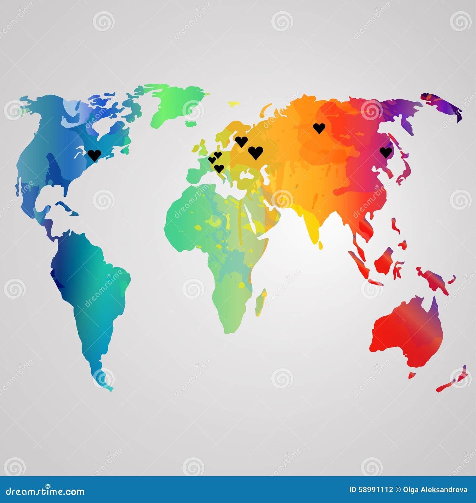 world map watercolor vector illustration rainbow stock. Black Bedroom Furniture Sets. Home Design Ideas