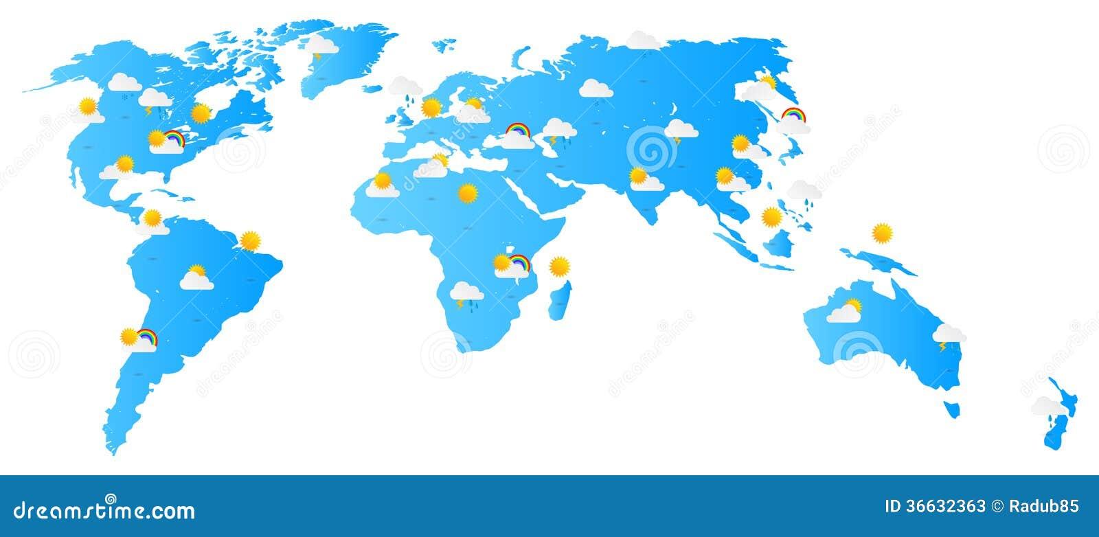 World Map Weather Forecast Stock Photos Image 36632363