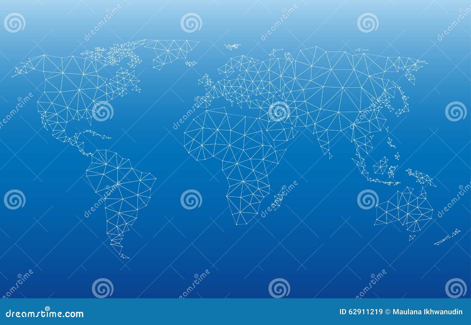 Unity Line Art Map : World map web stock vector image