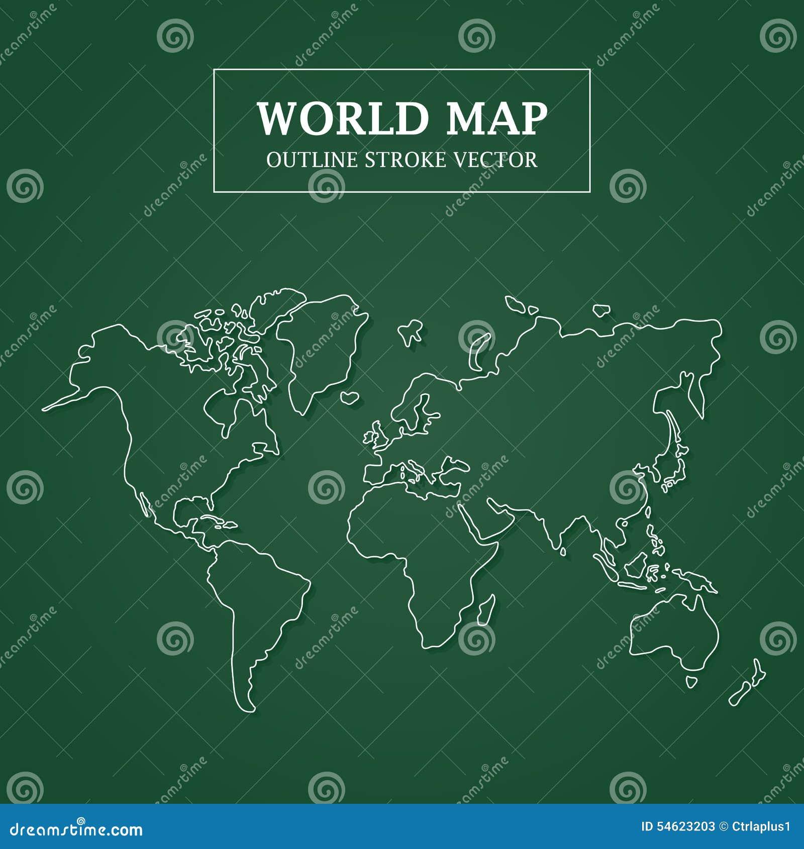 World Map White Outline Stroke on Green Background