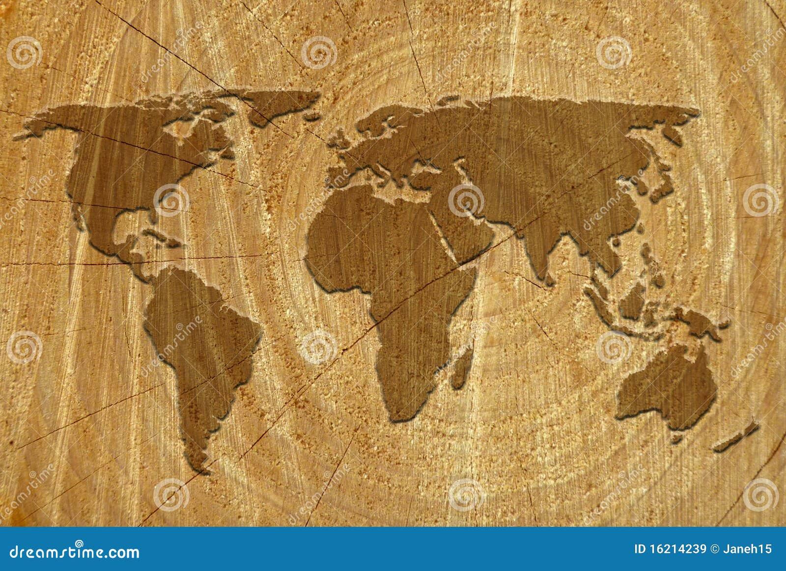 World Map On Wood Surf...