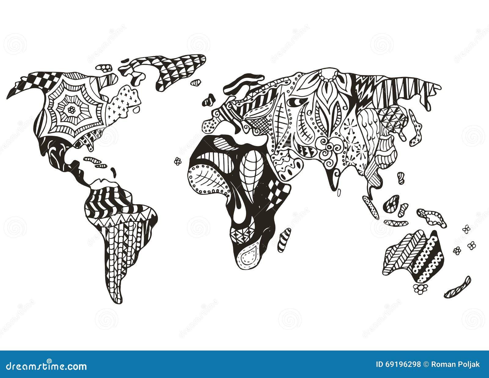 World Map Zentangle Stylized Vector Illustration