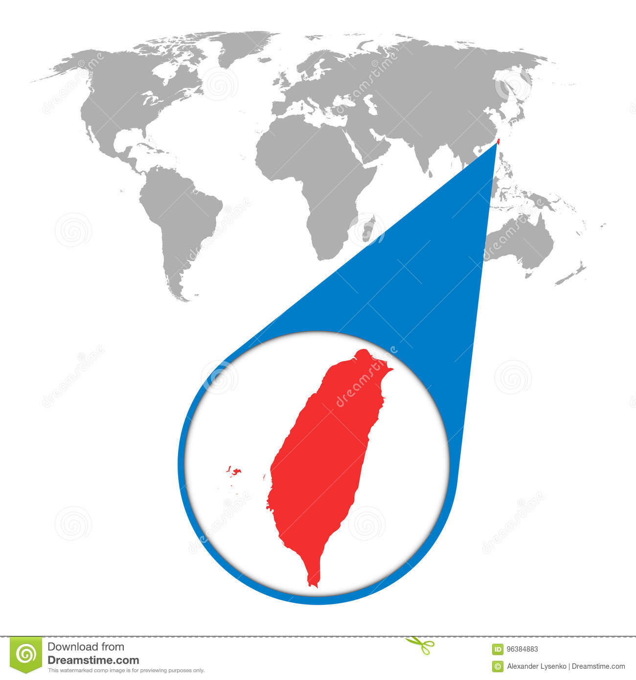 World map with zoom on taiwan map in loupe vector illustration world map with zoom on taiwan map in loupe vector illustration gumiabroncs Image collections