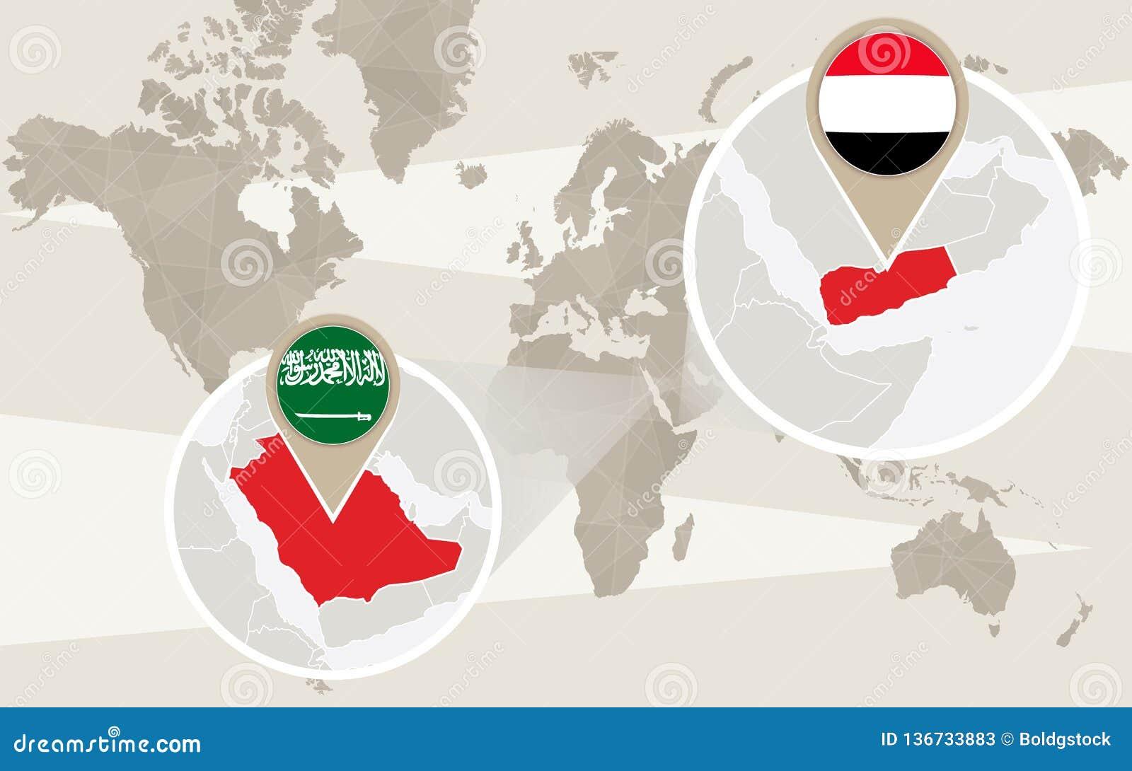 World Map Zoom On Yemen, Saudi Arabia Stock Vector ...