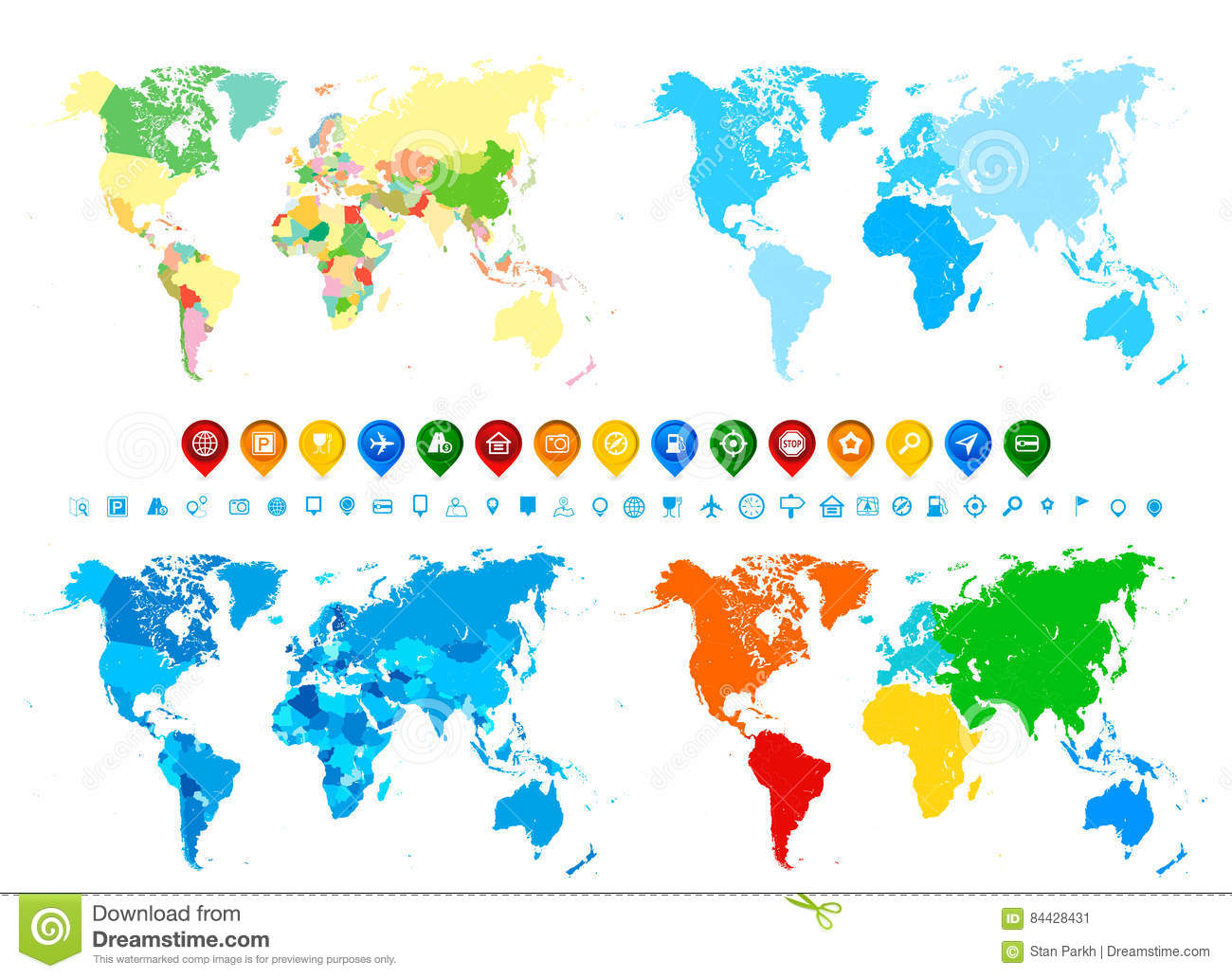 World Map Assignment.World Maps Collection And Navigation Icons In Different Colors A
