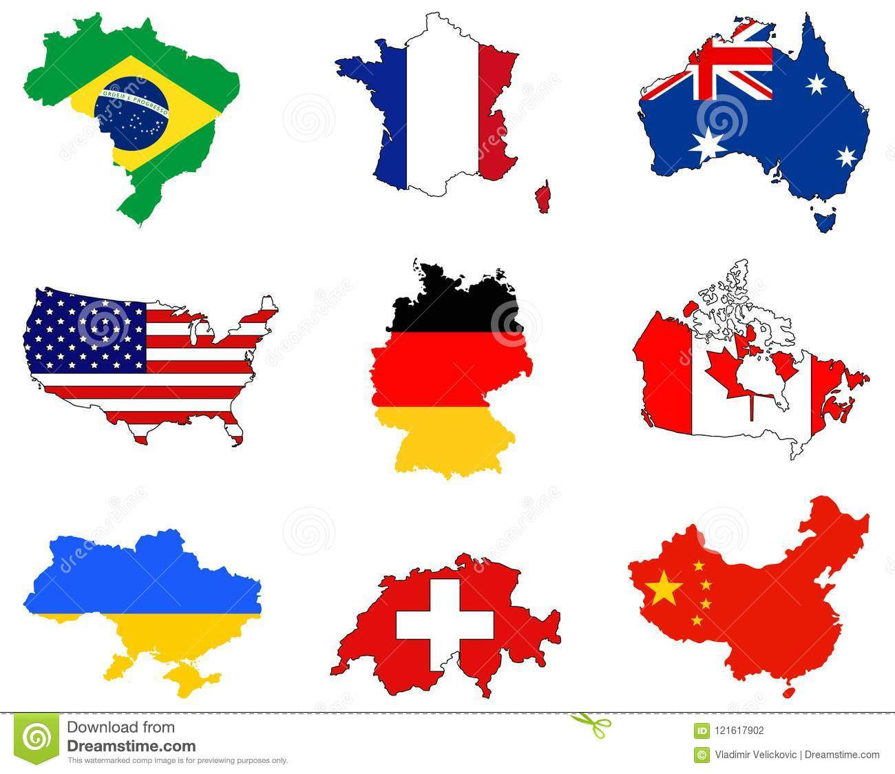 World Maps And Flags Countries In The World Stock Vector