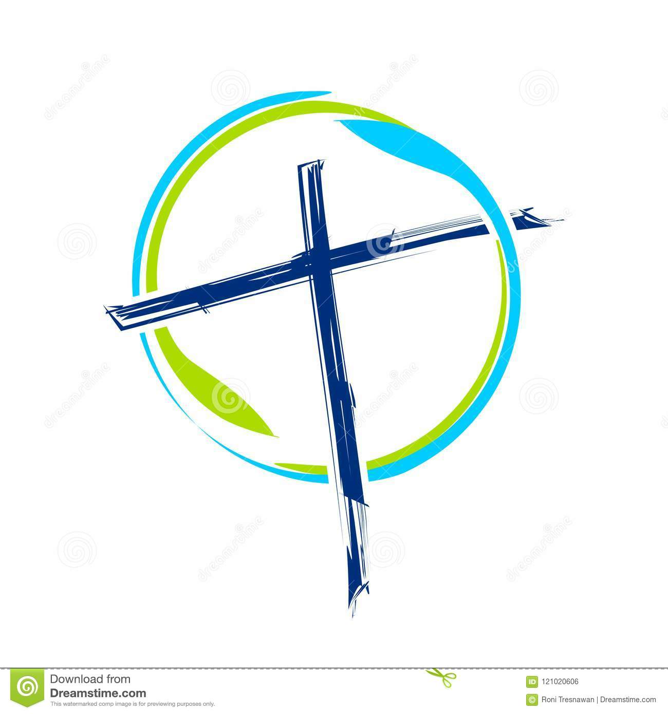 World Ministry Brush Abstract Cross Symbol Design Stock Vector