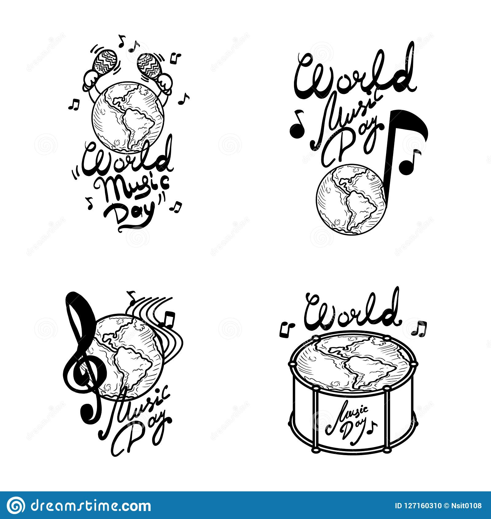 World music day banner set, hand drawn style
