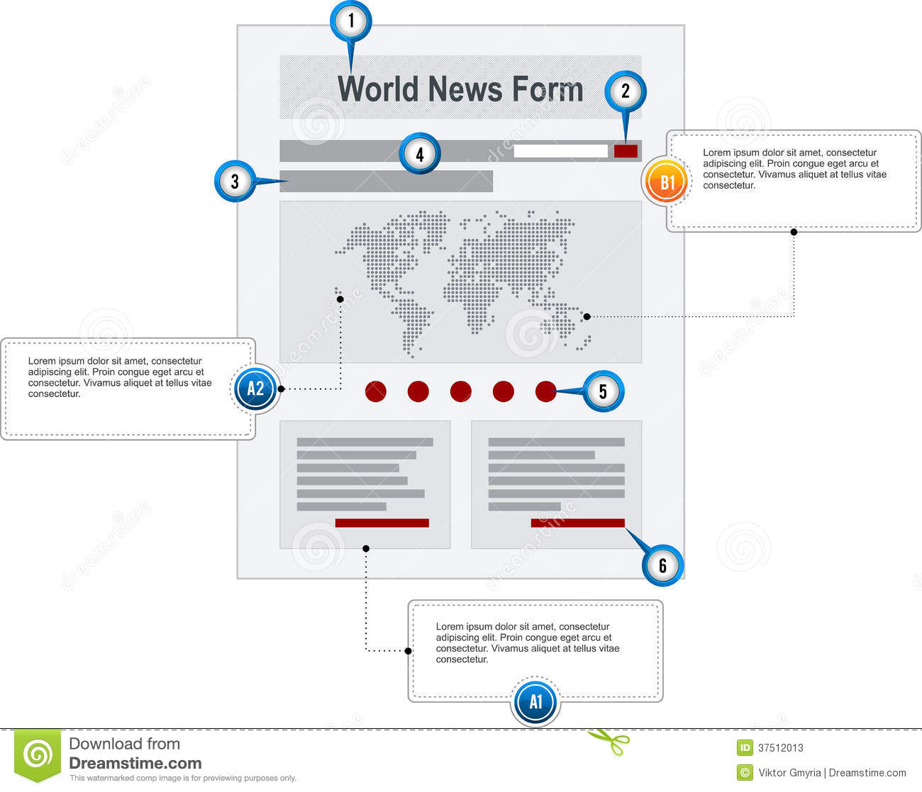 Web Sitemap Page: World News Internet Web Page Wireframe Structure P Stock
