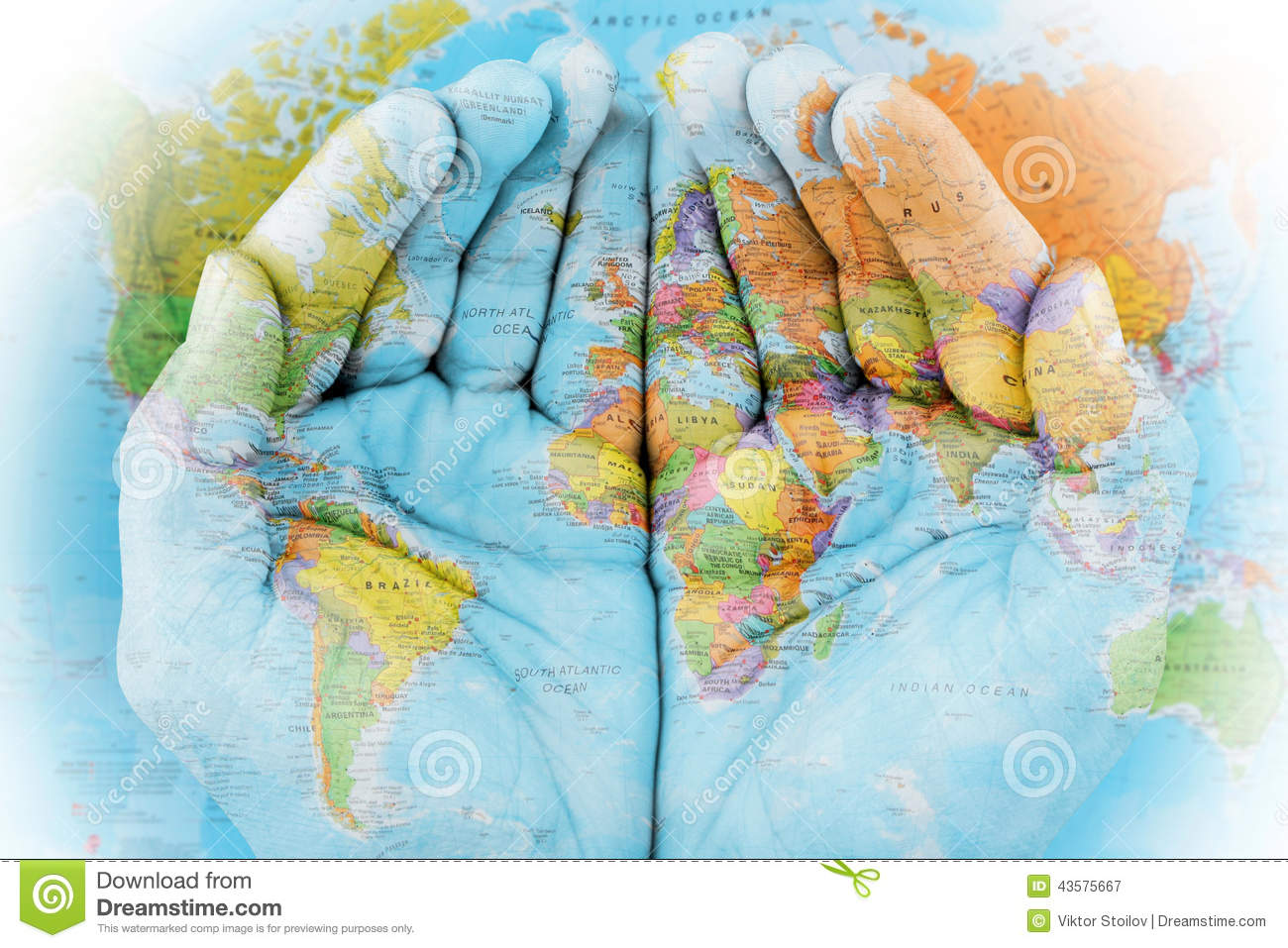 World Map On Hands.The World In Our Hands Stock Image Image Of Conceptual 43575667