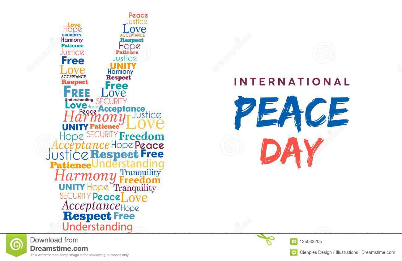 World Peace Day Card Of Hand Sign For Freedom Stock Vector