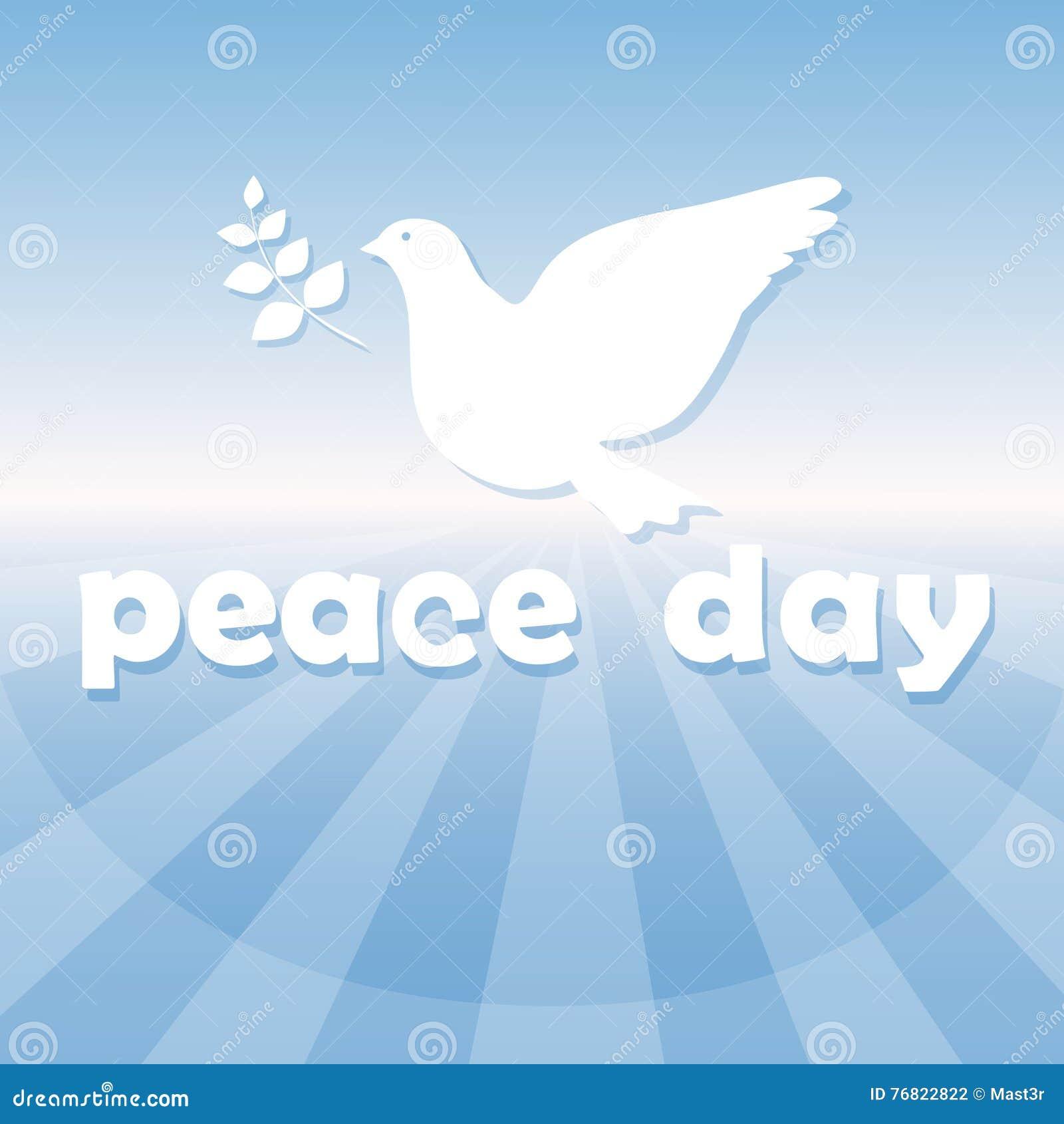 World Peace Day Poster White Dove Bird Symbol Stock Vector