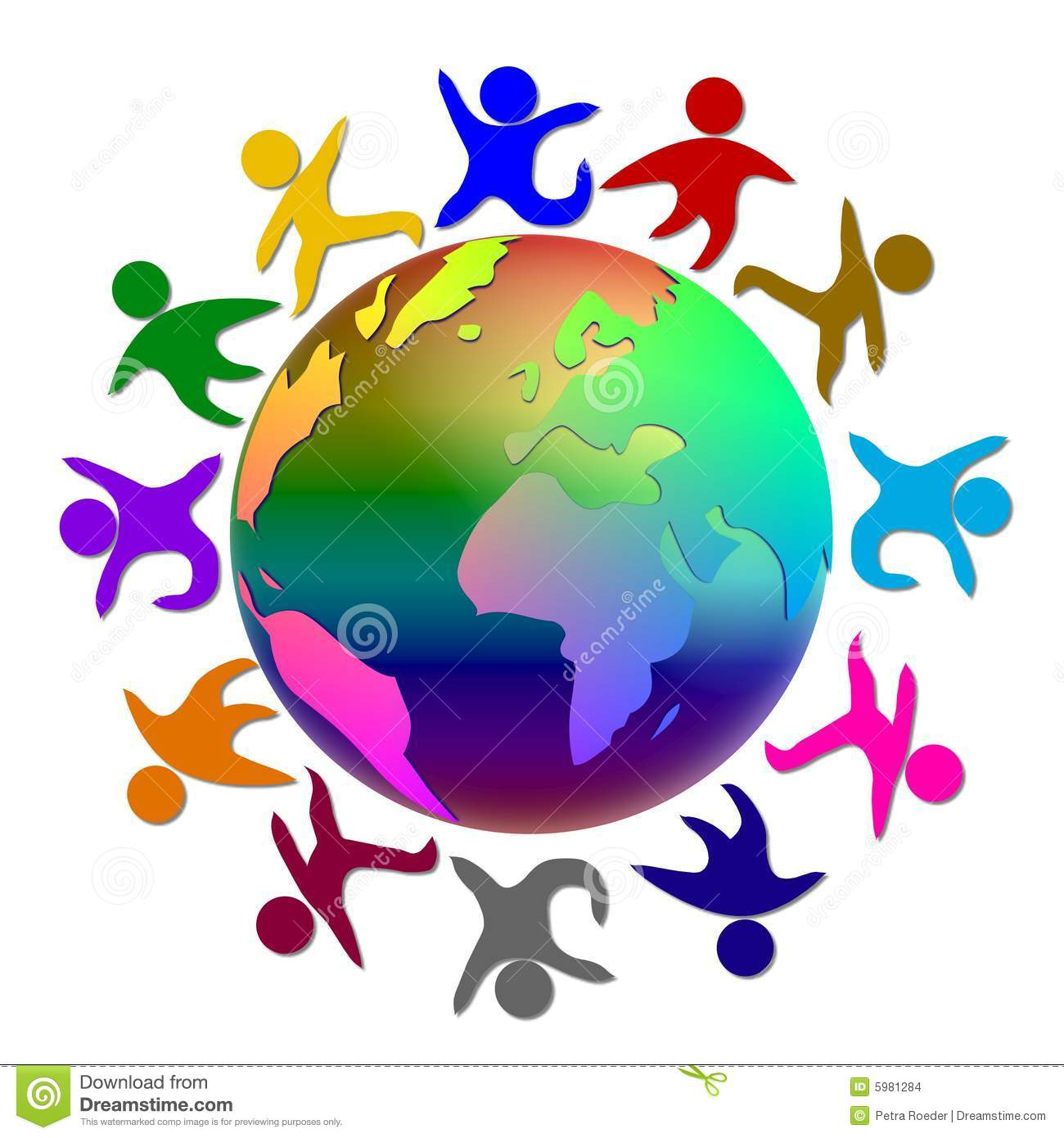 Illustration of the world with people (symbolic) dancing around it in ...
