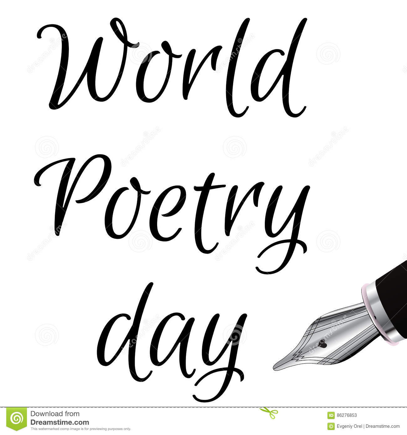White t shirt day - World Poetry Day Illustration With Ink Fountain Pen Made In Black And White 3d Design For Card Print Or T Shirt