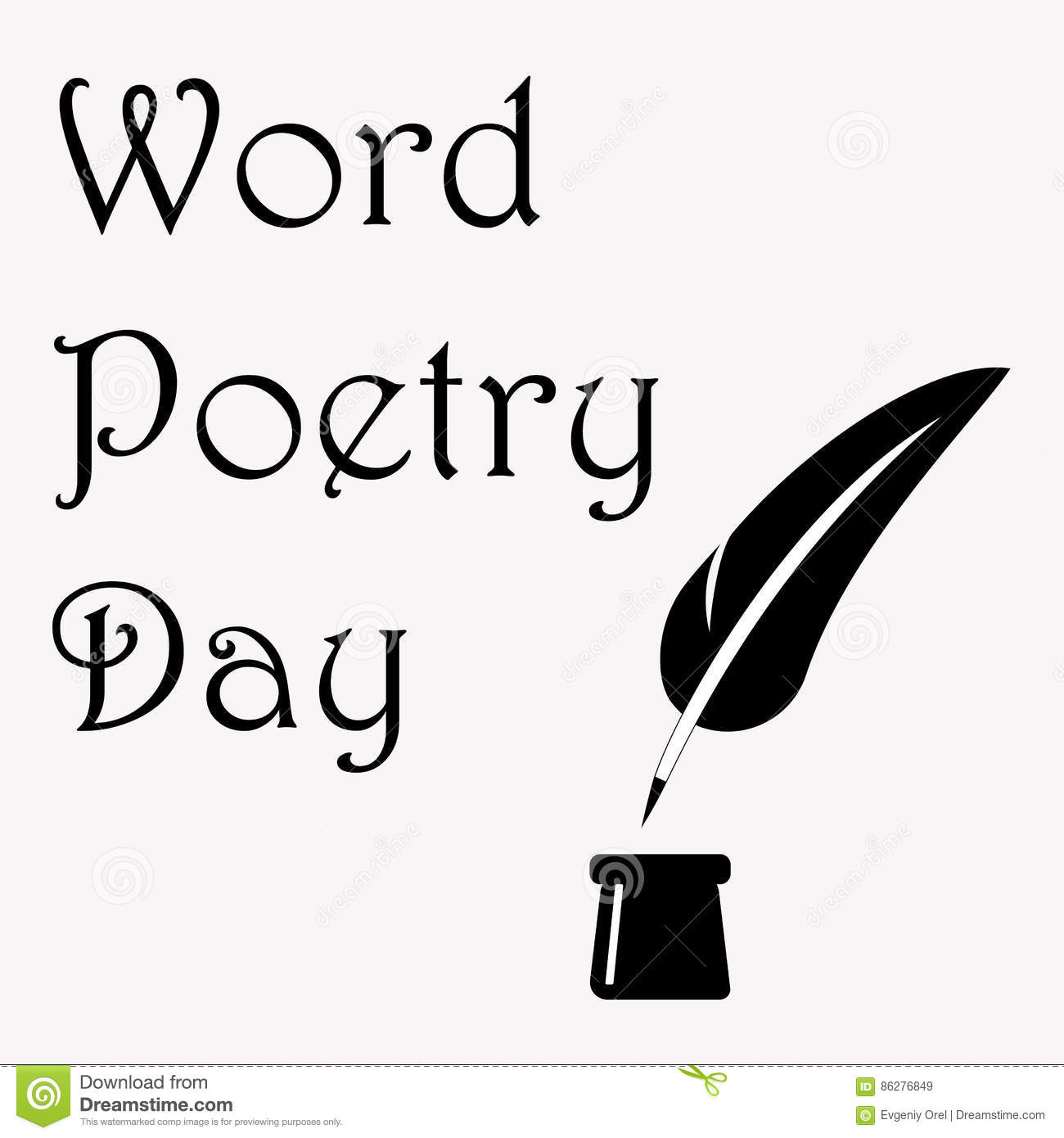 T shirt black and white designs - World Poetry Day Illustration With Ink Pot And Feather Made In Black And White Design For Card Print Or T Shirt
