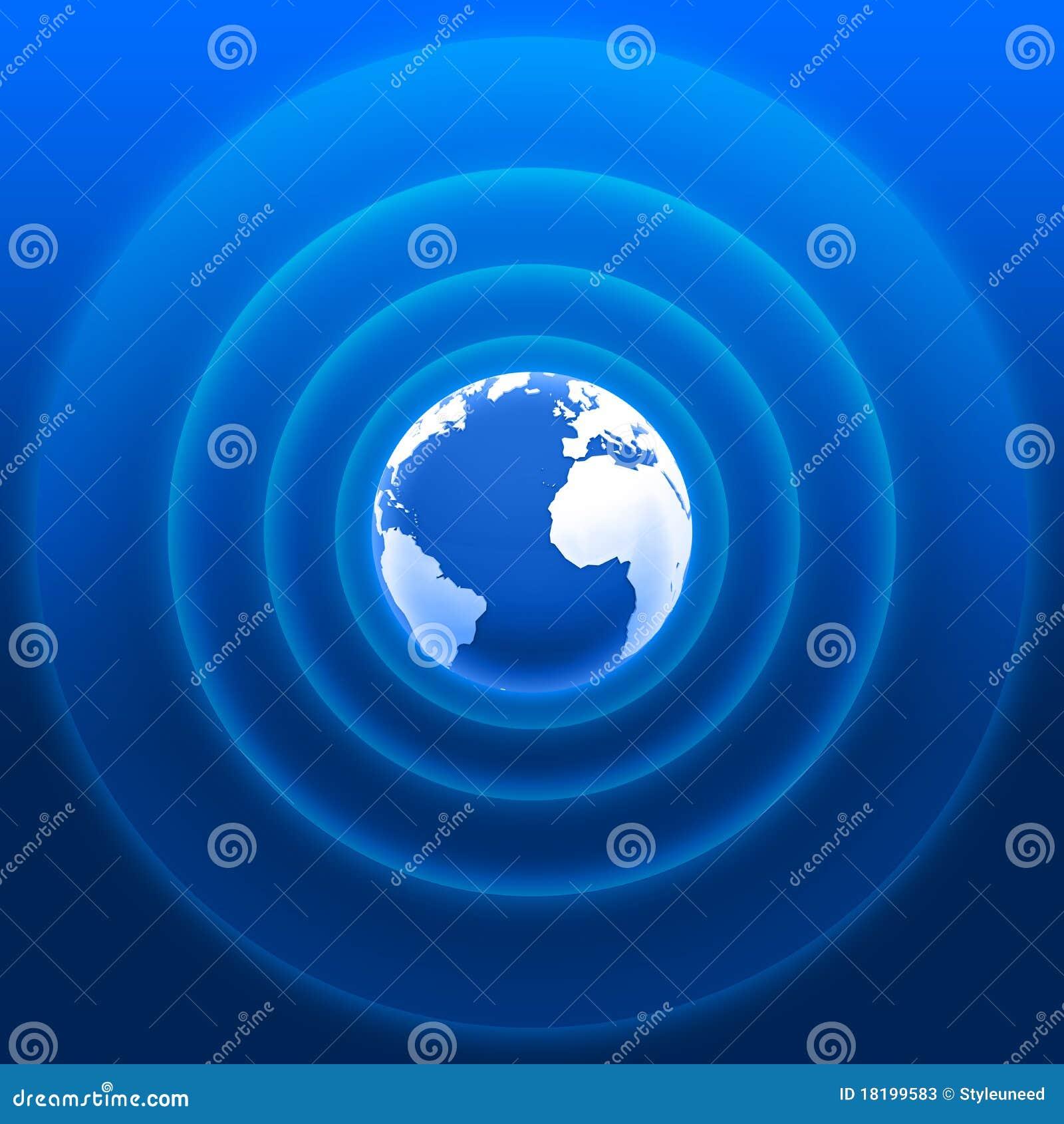 World radar waves blue white 01