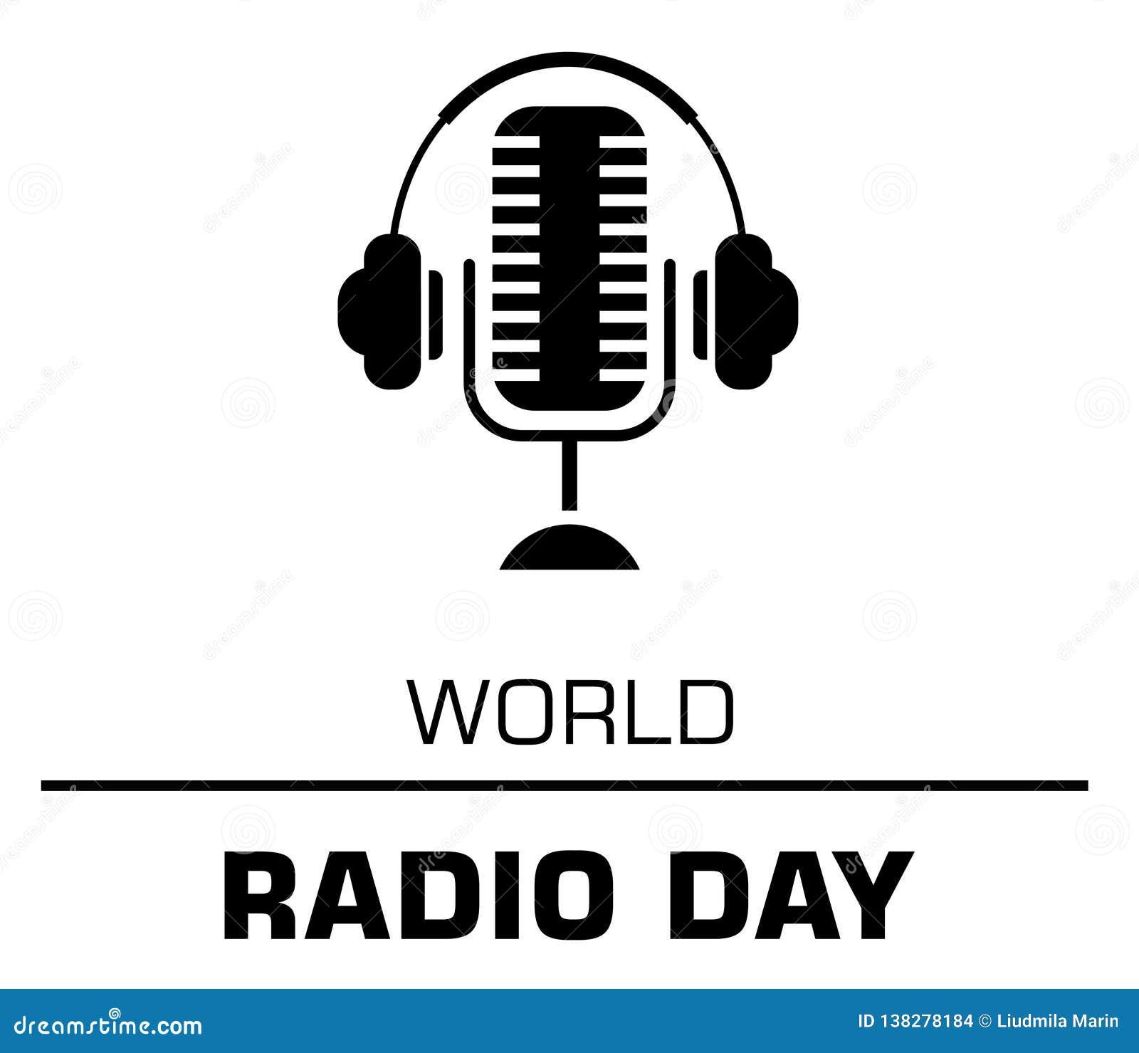 World radio day logo concept on the white background