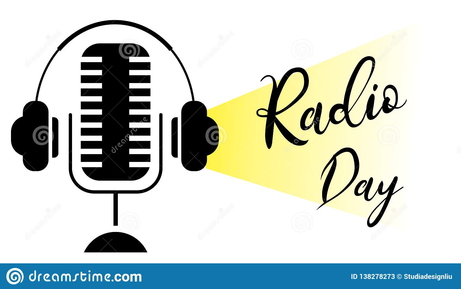 World radio day silhouette. Microphone with headphones concept